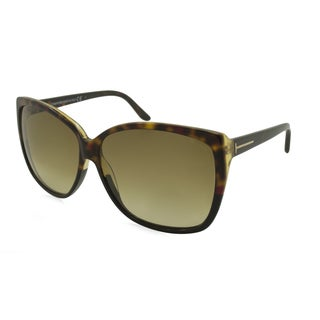 Tom Ford FT0228 05F Lydia Oversized Shield Sunglasses - Tortoise Frame and Yellow Gradient Lenses (As Is Item)