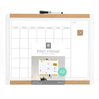 U Brands Pin-It Magnetic Dry Erase White Frame 20 x 16 Inches Calendar Board