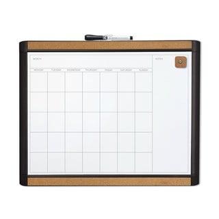 U Brands Pin-It Black Frame 20 x 16-inch Magnetic Dry Erase Monthly Calendar Board