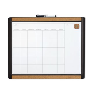U Brands Pin-It Black Frame 20 x 16-inch Magnetic Dry Erase Monthly Calendar Board