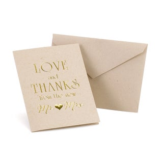 Love and Thanks Tan and Gold Kraft Thank You Wedding Stationery (Case of 50)