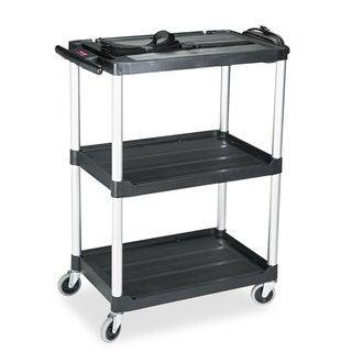 Rubbermaid Commercial MediaMaster Three-Shelf AV Cart 18-5/8-inch wide x 32-1/2-inch deep x 42-3/8-inch high Black
