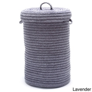Solid Textured Wool-Blend Hamper w/Lid