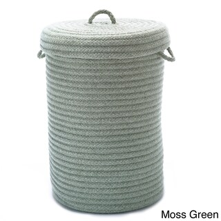 Solid Textured Wool-Blend Hamper w/Lid