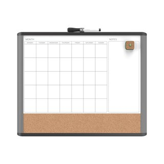 U Brands MOD Black and Grey Frame 20 x 16-inch Magnetic Dry Erase 3-In-1 Calendar Board