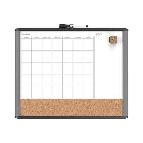 U Brands MOD Black and Grey Frame 20 x 16-inch Magnetic Dry Erase 3-In-1 Calendar Board