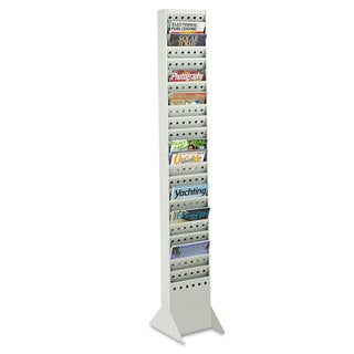 Safco Steel Magazine Rack 23 Compartments 10-inch wide x 4-inch deep x 65-1/2h Grey