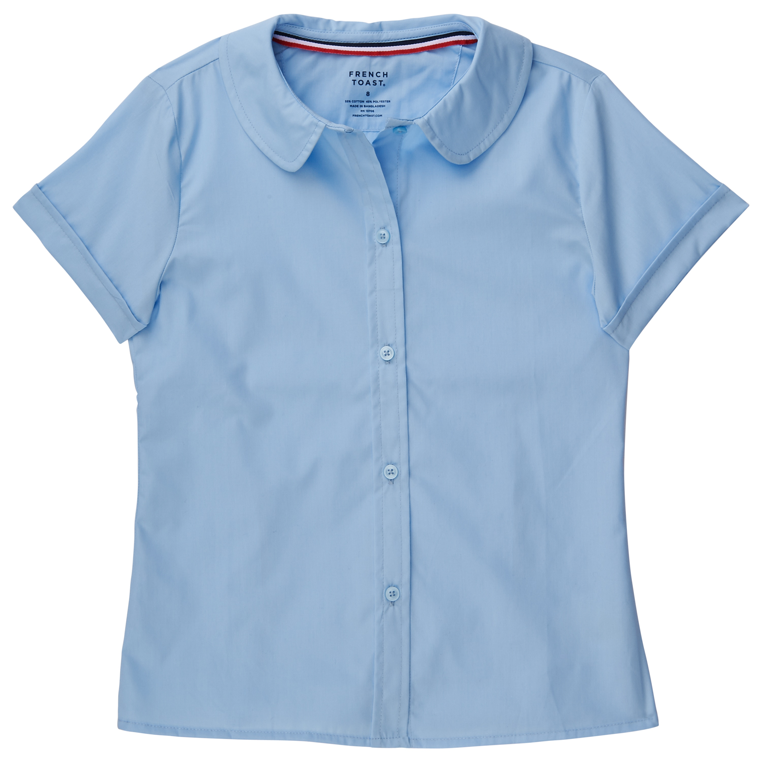 4af43363d4ae55 Shop French Toast Girls' Short-sleeved Blouse with Peter Pan Collar - Free  Shipping On Orders Over $45 - Overstock - 14153876