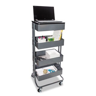 Vertiflex Multi-Use Storage Cart/Stand-Up Workstation 14 3/4-inch wide x 17-inch deep x 18 1/2-39d Grey
