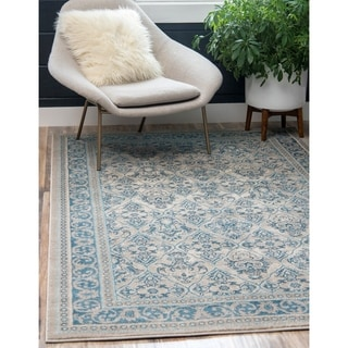 Salzburg Blue/Grey/Ivory Cotton/Polypropylene Rug (5' x 8')