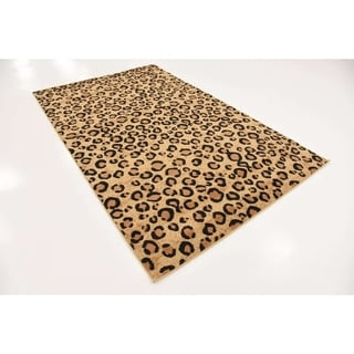 Leopard Safari Multicolor Cotton/Polypropylene Rug (5' x 8')