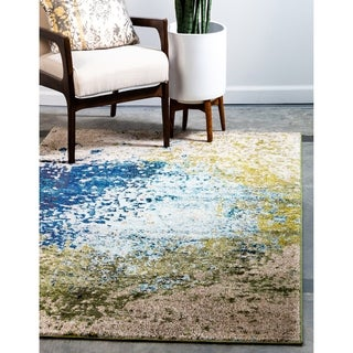 Multicolored Cotton-blend Abstract Barcelona Rug (5' x 8')