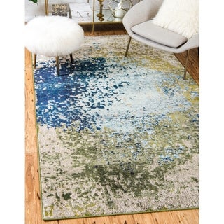 Barcelona Blue Cotton and Polypropylene Abstract Rug (6' x 9')