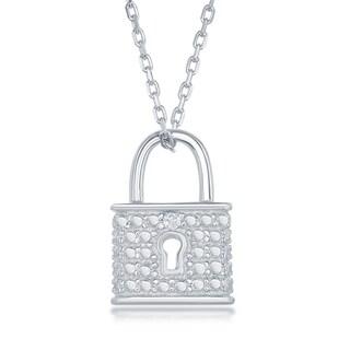 La Preciosa Sterling Silver Diamond Accent Lock Pendant