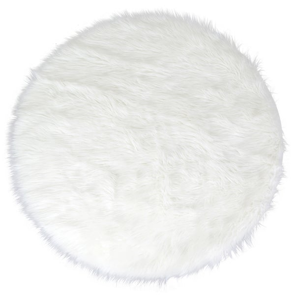 Shop Alair White Faux Fur Round Area Rug