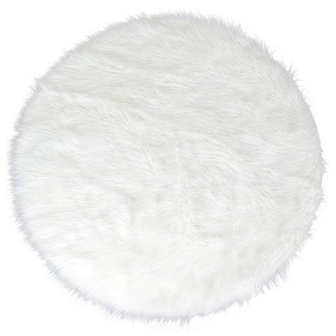 Alair White Faux Fur Round Area Rug - 4' x 4'