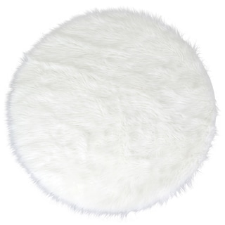 Alair White Faux Fur Round Area Rug (4' x 4')