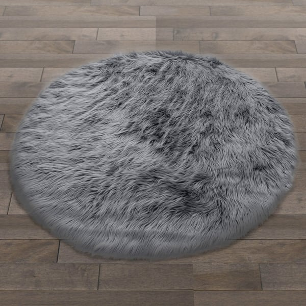 Shop Black Friday Deals On Carbon Loft Fillion White Faux Fur Round Area Rug Overstock 14153907