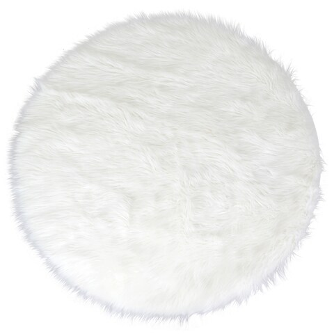 Alair White Faux Fur Round Area Rug