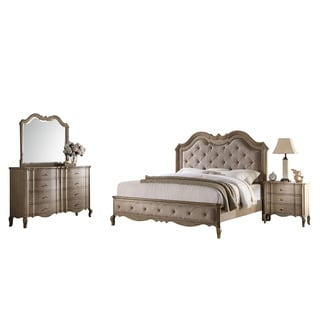 Acme Furniture Chelmsford 4-Piece Bedroom Set, Tan Fabric and Antique Taupe