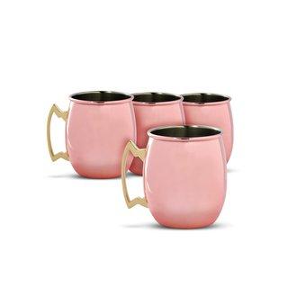 Cambridge Silversmiths Copper 20 Ounce Moscow Mule Mug, 4-Piece Set