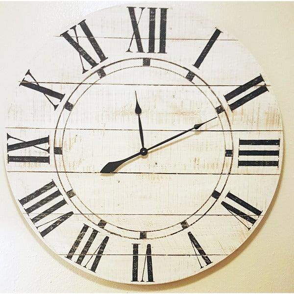 White Wood Oversized Vintage Wall Clock Free Shipping