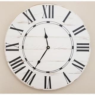 White Wood Oversized Vintage Wall Clock