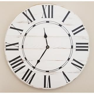 White Wood Oversized Vintage Wall Clock|https://ak1.ostkcdn.com/images/products/14153941/P20755728.jpg?impolicy=medium