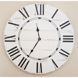White Wood Oversized Vintage Wall Clock