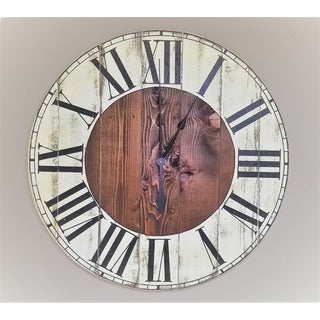 honey maplefinish and white wood oversized wall clock