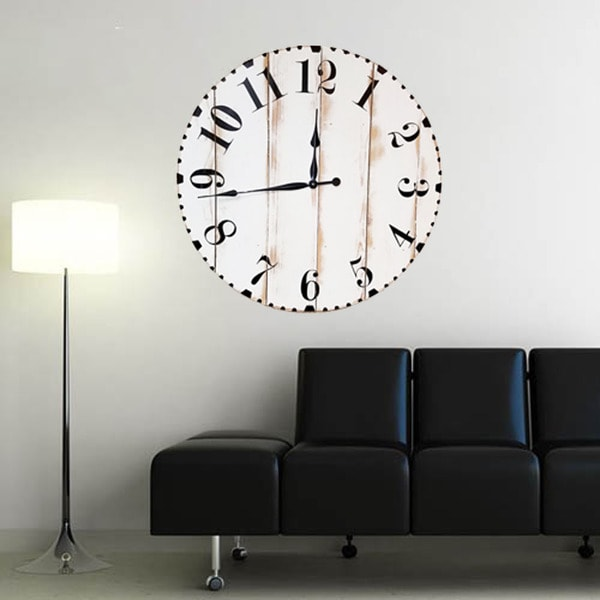Rustic Modern White Wood 36-inch Oversized Wall Clock