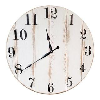 Oversized White Cedar Wall Clock