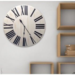Oversized White Wood Farmhouse Charm Wall Clock
