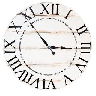White Wood 36-inch Oversized Wall Clock