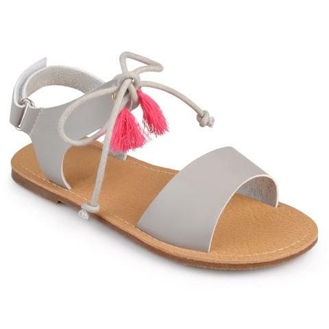 Journee Kid's Girl 'Braya' Tasseled Faux Leather Sandals