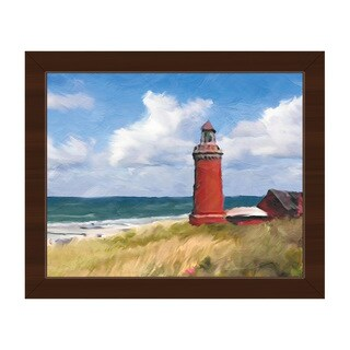 'The Red Lighthouse' Black Framed Canvas Wall Art