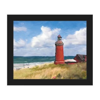 'The Red Lighthouse' Canvas Framed Wall Art