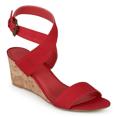 Journee Collection Women's 'Kaylee' Canvas Ankle Strap Wedges