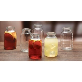 14-ounce Glass Milk Bottle-shaped Glasses (Set of 6)