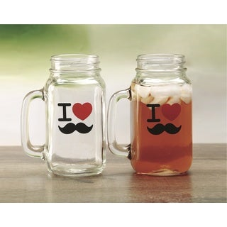 24-ounce 'I Love Mustache' Mason Jar Mugs (Set of 2)