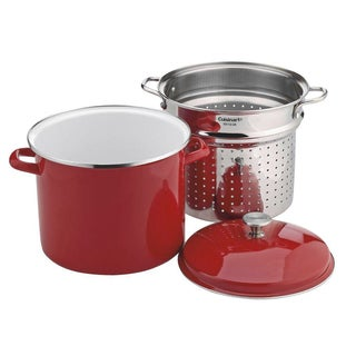 Cuisinart EOS126-28RS 3-Piece 12-Quart Stockpot/Steaming Set, Red