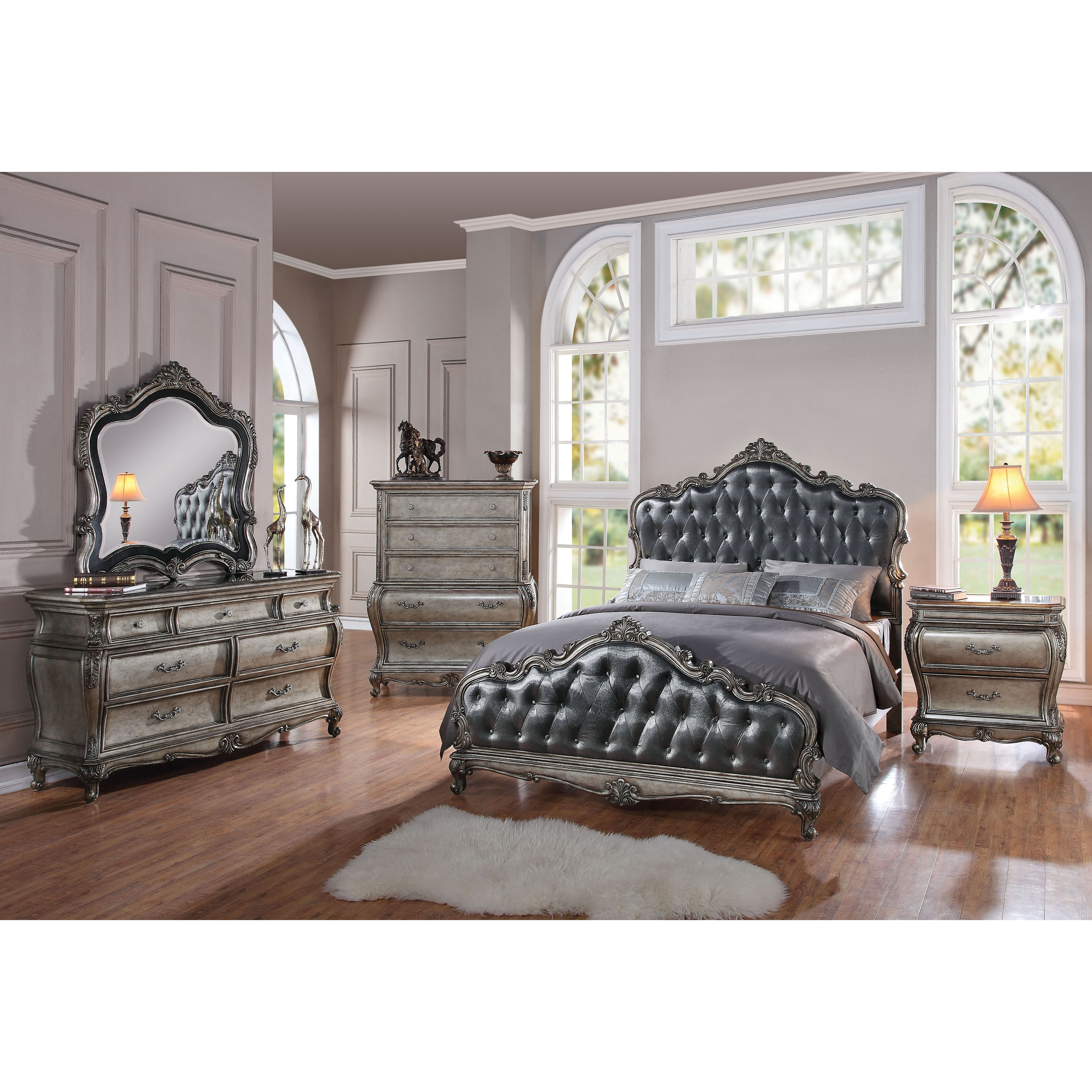 Acme Furniture Chantelle 4-Piece Bedroom Set, Antique Platinum with Silver  Gray Silk-Like Fabric