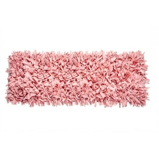Jersey Cotton Shaggy Light Pink Hand-knotted Rug (2' x 6')