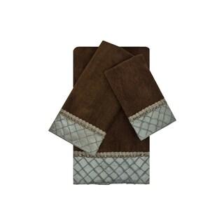 Sherry Kline Pleated Diamond Brown/Blue 3-piece Embellished Towel Set