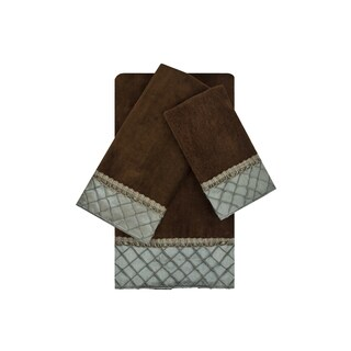 Sherry Kline Pleated Diamond Brown/Blue 3-piece Embellished Towel Set