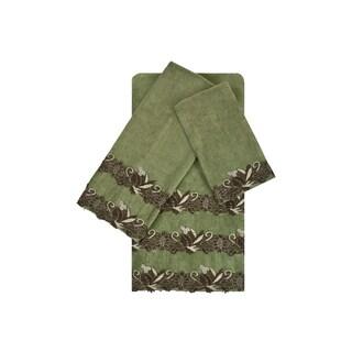 Sherry Kline Romantica Lace Sage 3-piece Embellished Towel Set