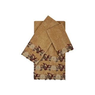 Sherry Kline Romantica Lace Gold 3-piece Embellished Towel Set