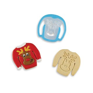 Bakelicious Reindeer Ugly Christmas Sweater Cookie Cutter