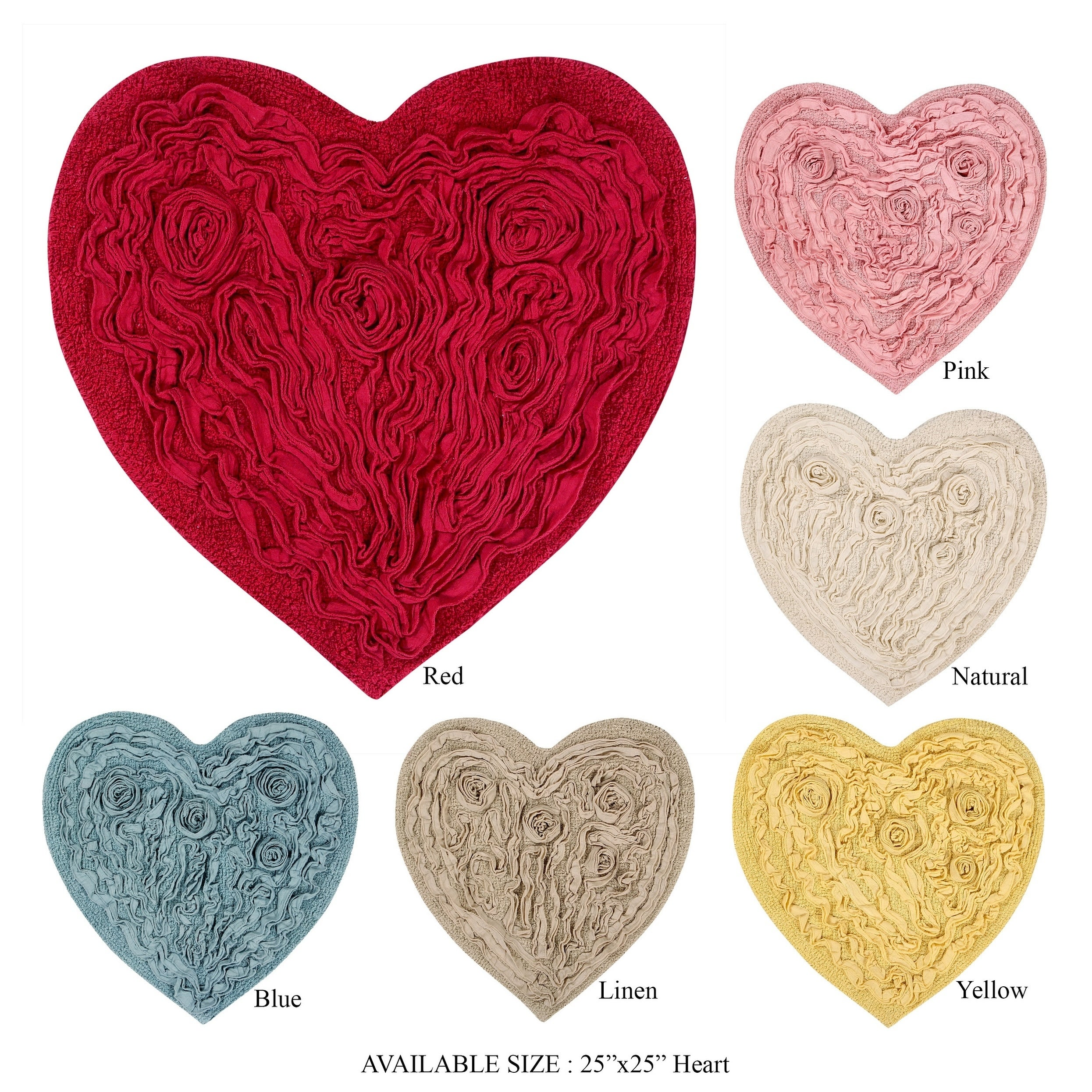 "Bellflower Heart Shape RUG -(25""x25"") (Yellow) (Cotton, F..."