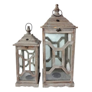 Coastal Wooden Lantern (Set of 2)